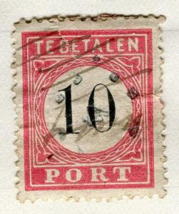 NETHERLANDS;  Early Postage Due issue classic 10c. used value