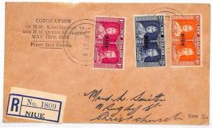 VV283 1937 New Zealand NIUE Coronation KGVI FDC First Day Cover DISPLAY TEXT