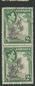 Jamaica -Scott 119b - KGVI Definitive -1938 - Used - Vert. Pair of 2p Stamp