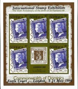 Dominica Stamp Sc#663B - 1980 - S/Sheet - Great Britain #2 - Overprinted LON...