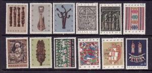 Greece-Sc#864-75-Unused NH set-Designs-Pop Art-1966-please note #865 has a round