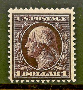 Scarce & Sound US #342 ~ Mint VLH 1909 D/L Wmk $1  Perf 12...Free Shipping!