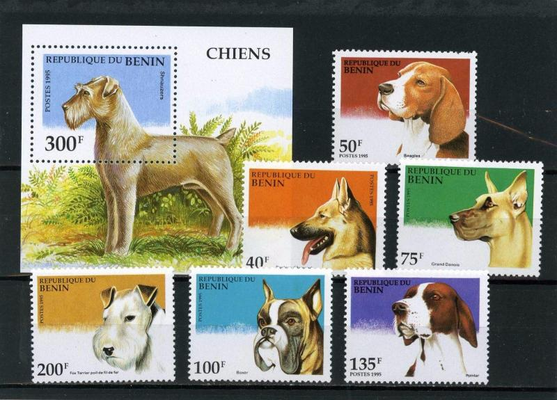 BENIN 1995 Sc#741-747 DOGS SET OF 6 STAMPS & S/S MNH