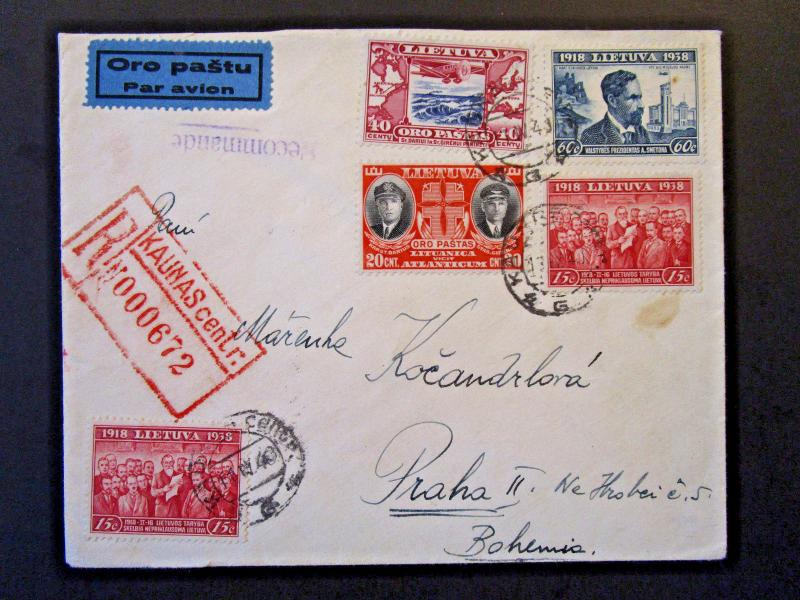 Lithuania 1940 Registered Airmail Censored Cover to Bohemia - Z5377