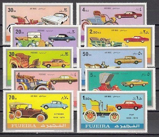 Fujeira, Mi cat. 608-617 A. Antique Cars issue. ^