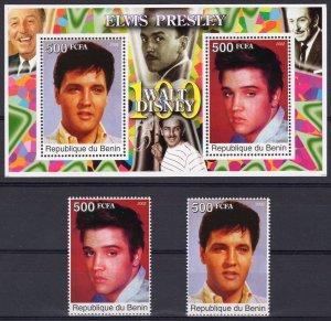 Benin 2002 Elvis Presley/Walt Disney 100 Years Set (2) + 1 S/S MNH VF