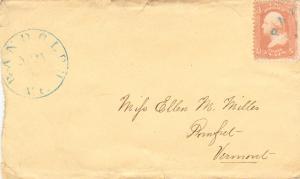 United States Vermont Randolph c1865 blue serifed cds, Paid in arc  3c Washin...