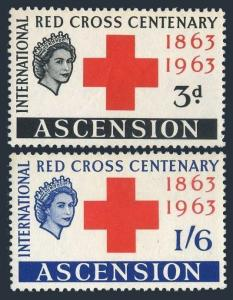 Ascension 90-91,MNH.Michel 90-91. Red Cross Centenary,1963.
