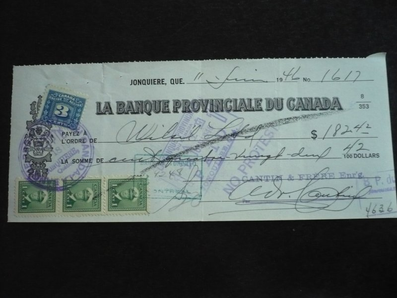 Canada - Revenue Tax and KGVI Issue Stamps on cheque dated 1946