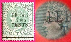 Malaya 1891 F E R A K instead of Perak opt Straits Settlements QV 2c MNG M3010