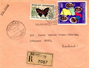 French Equatorial Africa Central African Republic 20F Butterfly and 100F Chie...