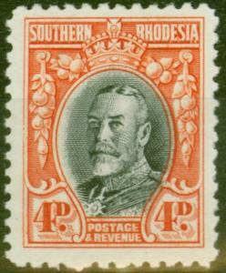 Southern Rhodesia 1935 4d Black & Vermilion SG19a P.11.5 Fine Lightly Mtd Mint