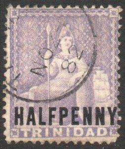 TRINIDAD-1879 ½d Mauve Sg 99 GOOD USED V46197