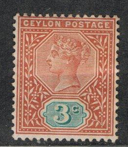 CEYLON 1886 - 1900 3c ORANGE & GREEN QUEEN VICTORIA