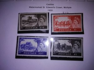 25% OFF 3 DAY ONLY SALE! 1959 GREAT BRITAINCASTLES SET OF 4, FINE MINT NH(Was100