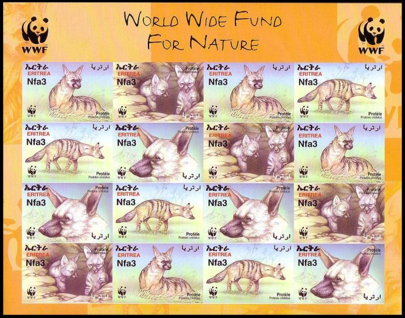Eritrea WWF Aardwolf Imperforated Sheetlet of 4 sets SG#488-491 SC#350 a-d