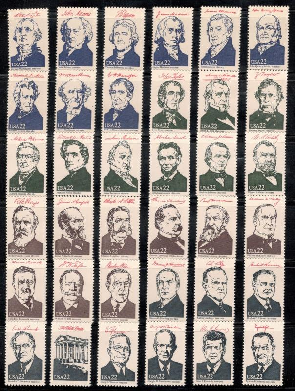 2216-2219  AMERIPEX '86 Presidents Complete Set Of 36 Singles Mint/nh (JD-22)