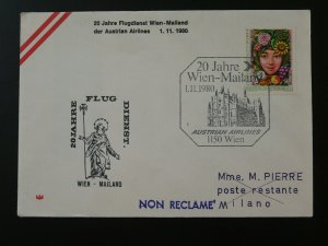 first flight cover 1980 Wien to Milano Italy Austrian Airlines 89192