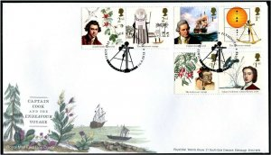 HERRICKSTAMP GREAT BRITAIN Sc.# 3757-62 Captain Cook First Day Cover Plymouth