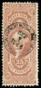 B617 U.S. Revenue Scott #R47c 25 Life Insurance 1864 insurance company handstamp