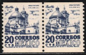 MEXICO 1003(2), 20c 1950 Def 4th Issue Fluorescent uncoated Coil PAIR MNH. F-VF.