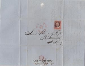 *US 19th Century Cover Scott #10A, Folded Letter, 3 Mgns, Boston 7-18-1851
