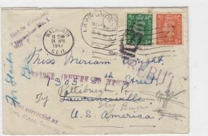 england to america 1947 multi cancelled unclaimed stamps cover ref r10806