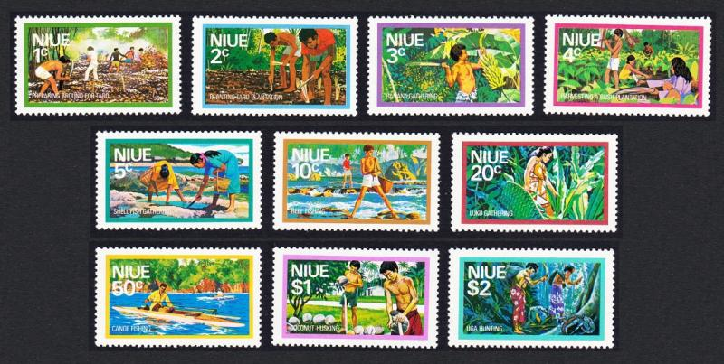 Niue Food Gathering issue 1976 10v SG#198/207 SC#179-188