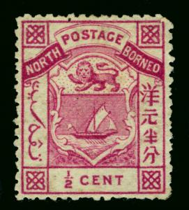 NORTH BORNEO  1886  Coat of Arms  1/2c magenta  Scott # 8  mint MH
