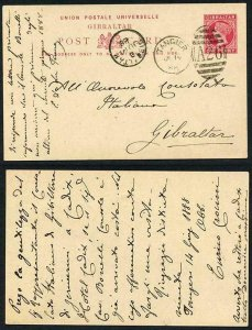 MOROCCO AGS 1888 Gibraltar 1d postcard TANGIER duplex