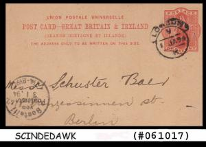 GREAT BRITAIN - 1894 UPU POSTCARD 1 PENNY RED MAILED TO BERLIN FROM LONDON