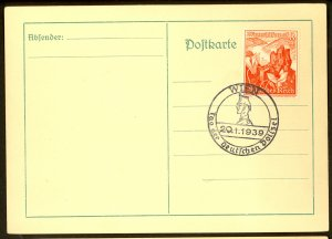 GERMANY USED IN AUSTRIA 1939 8+4pf Sc AB127 on Card w DAY OF THE GERMAN POLICE