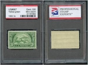 #987 1950 3¢ BANKERS ASSOCIATION MINT OG NH GEM SLAB W/ PSE 100 CERT SLB46