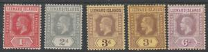 LEEWARD ISLANDS 1912 KGV RANGE TO 6D INC 2 SHADES 3D WMK MULTI CROWN CA
