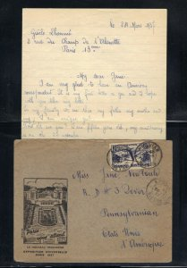 France NY 1937 Cachet Cover with Pen-pal Contents with 1.50fr Stamp Scott 322 F
