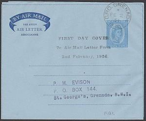 GRENADA 1956 7c aerogramme used - with first day handstamp.................54747