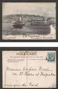 Great Britain Sc 127 on 1904 PPC depicting Guernsey
