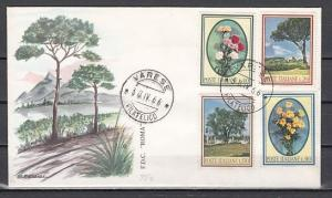 Italy, Scott cat. 934-937. Trees & Flowers issue on a First day cover.