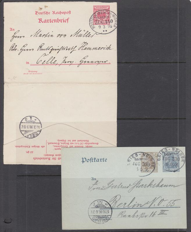 Germany, 2 different Postal Cards with BAHNPOST cancels, 1 printed to private or