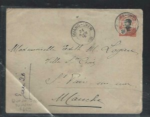 FRENCH INDOCHINA  (PP3008B) 1916 COVER PSE  10C  QUANG-UYEN, TONKIN TO FRANCE