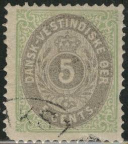 Danish West Indies DWI  Scott 8 MH* CV$30 short perf