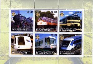 Mauritania 2002 Trains & locomotives Sheet (6) Perforated mnh.vf