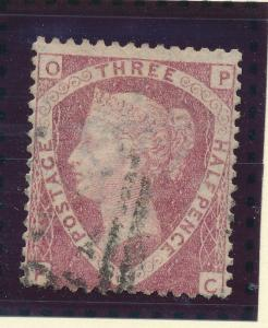 Great Britain Stamp Scott #32, SG 53, OP-PC Fault/Error, Used - Free U.S. Shi...