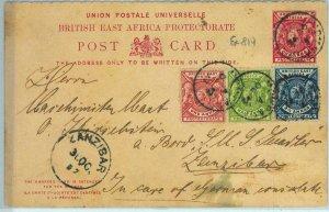 BK0225 - BRITISH EAST AFRICA - POSTAL HISTORY - Stationery Card to ZANZIBAR 1897