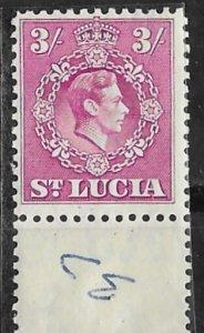 St. Lucia # 123   George VI  3sh  value  (1)    Mint  NH