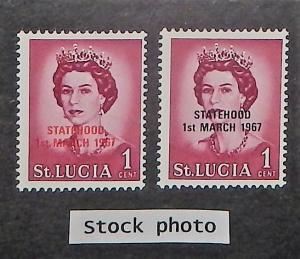 St. Lucia 182 var. 1967 1c QE, Statehood overprints, NH
