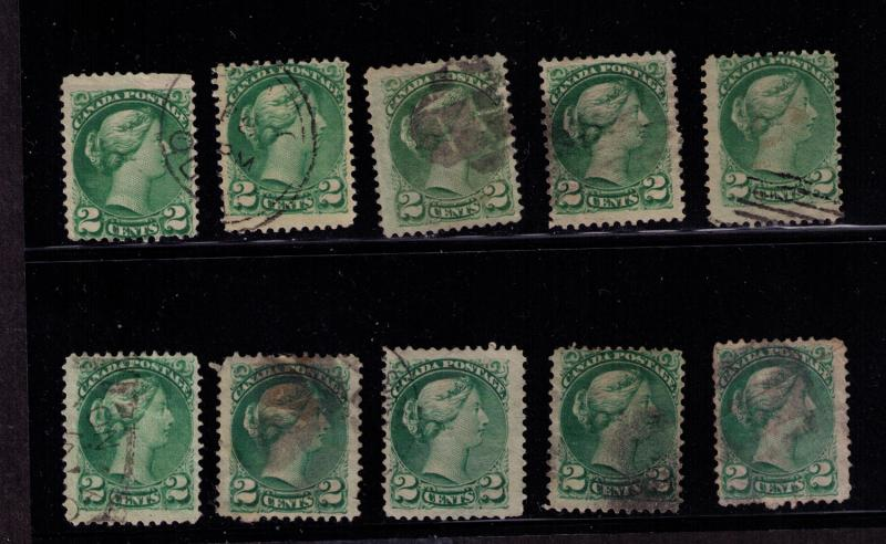 Canada #  36 Used 10 F-VF  stamps with shades & Cancels
