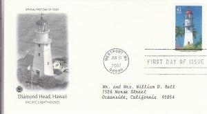 2007, Lighthouses-Diamond Head, Hawaii, PCS, FDC (E9229)