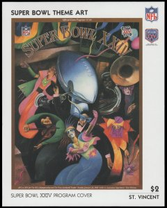 ST. VINCENT 1991. SCOTT # 1448. SOUVENIR SHEET. SUPER BOWL PROGRAM COVER.