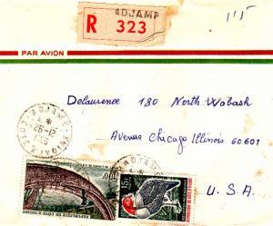 Ivory Coast 15F White-breasted Guinea Fowl and 100F Liana Bridge 1966 Adjame,...